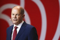 German Finance Minister Olaf Scholz attends a news conference in Berlin, Germany, on Aug. 10, 2020. (AP Photo/Markus Schreiber)
