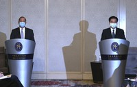 U.S. Health and Human Services Secretary Alex Azar, left, speaks, along with Taiwanese Foreign Minister Joseph Wu at the start of their meeting in Taipei, Taiwan, on Aug. 11, 2020. (AP Photo/Chiang Ying-ying)