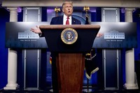 U.S. President Donald Trump speaks during a news conference in the James Brady Press Briefing Room at the White House on Aug. 10, 2020, in Washington. (AP Photo/Andrew Harnik)