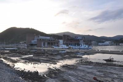 震災から5カ月半が経過した女川港の港湾施設跡。がれきは撤去され、人の姿はほとんどなかった=宮城県女川町で2011年8月29日午後5時35分、春増翔太撮影