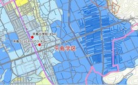 A hazard map of the city of Okayama in western Japan. The colors indicate the depth of estimated flooding.