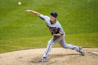 Minnesota Twins starting pitcher Kenta Maeda throws during the sixth inning of a baseball game against the Milwaukee Brewers on Aug. 12, 2020, in Milwaukee. (AP Photo/Morry Gash)