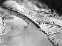 The town of Akune in the southwestern Japan prefecture of Kagoshima is attacked in an air raid in this photo provided by Takao Imayoshi.