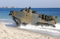 Assault amphibious vehicle AAV7 comes ashore on a beach on Tanegashima Island in the southwestern Japanese prefecture of Kagoshima during a landing exercise by Japan's Ground Self-Defense Force on Nov. 14, 2019. (Kyodo)