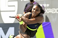 Serena Williams returns a shot to Shelby Rogers during action in their WTA tennis tournament match in Nicholasville, Kentucky, on Aug. 14, 2020. (AP Photo/Timothy D. Easley)