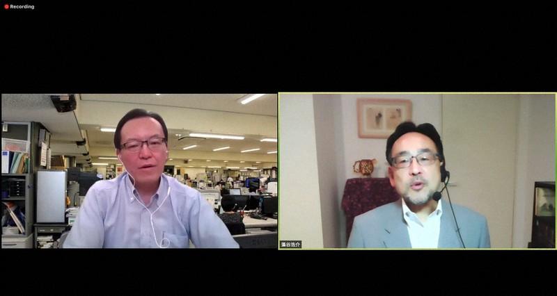 藻谷浩介さん(右)と斉藤信宏・毎日新聞編集編成局次長