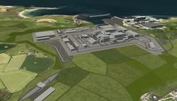 英ウェールズのアングルシー島で日立製作所子会社のホライゾン・ニュークリア・パワーが計画する「ウィルファ・ネーウィズ原発」の完成予想図