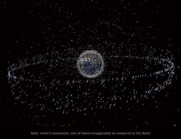 地球周辺にある宇宙ごみの概念図。宇宙ごみの大きさなどは誇張してあるため、実際にはこれほど密集した状態ではない ©ESA