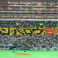 ヤフードームの3塁側内野席に浮かび上がった「ガンバロウ日本」の人文字=福岡市中央区で2011年9月15日午後8時、安達一成撮影