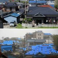 台風15号で被害から1年がたった千葉県館山市布良地区。被害を受けた住宅にかけられたブルーシートは少なくなっていた=2020年9月4日、竹内紀臣撮影(上)、台風19号が近づき、風雨が強まる中、ブルーシートが掛けられた住宅が並ぶ=2019年10月12日、手塚耕一郎撮影