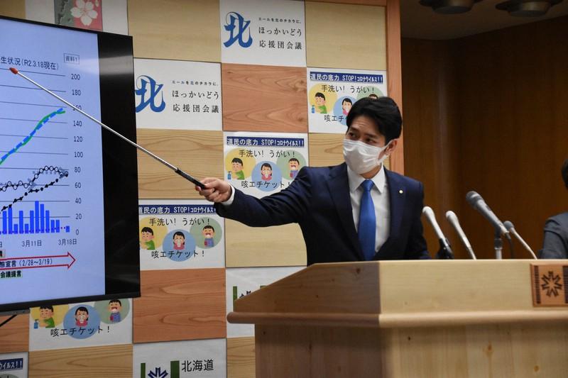 緊急事態宣言の効果を説明する北海道の鈴木直道知事=道庁で2020年3月18日、澤俊太郎撮影