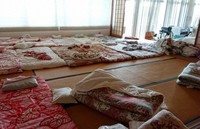 Futons that were used by evacuees at Healthcare Futaba are seen left much as they were in March 2011, communicating a sense of the urgency at the time, in this image taken on Aug. 11, 2020. (Mainichi/Tomonari Takao)