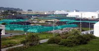 Flexible containers filled with radioactively contaminated soil and other materials at an interim storage facility are seen in this image taken from the Futaba Municipal Government office in Fukushima Prefecture, on Aug. 11, 2020. (Mainichi/Tomonari Takao)