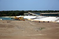 Flexible containers filled with radioactively contaminated soil and other waste at an interim storage facility are seen in this image taken in Futaba, Fukushima Prefecture, on Aug. 11, 2020. (Mainichi/Tomonari Takao)