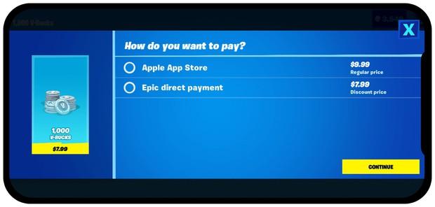 フォートナイト内での課金画面。直接課金は割引価格で販売されているのがわかる(エピックゲームズ公式サイトより)