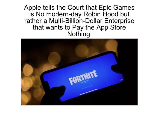 「アップルが反訴で『エピックゲームズは義賊ロビンフッドを装う大金持ち企業』と非難」のニュースを伝えるアップル情報専門サイト『プレンティ・アップル』