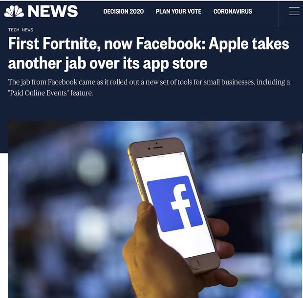 「SNS大手フェイスブックもエピックゲームズ同様にアップルの30%税に対して異議」と伝える米NBCニュースの記事
