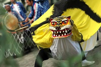 鵜住居青年会によって披露された虎舞=岩手県釜石市鵜住居町で2011年9月25日午後1時16分、久保玲撮影