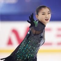 フィギュアスケート「ドリーム・オン・アイス」でフリーを披露する坂本花織=横浜市のコーセー新横浜スケートセンターで9月13日(代表撮影)