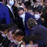 自民党総裁選に臨む菅義偉官房長官(中央)=東京都内のホテルで2020年9月14日午後1時53分、宮武祐希撮影