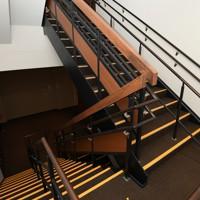報道陣に公開された熊本城大天守の内部の階段=熊本市中央区で2020年9月14日午後0時18分、矢頭智剛撮影