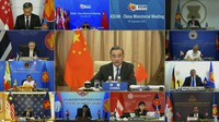 In this image taken from video provided by VTV, Chinese Foreign Minister Wang Yi speaks during an online meeting with ASEAN foreign ministers on Sept. 9, 2020. (VTV via AP)
