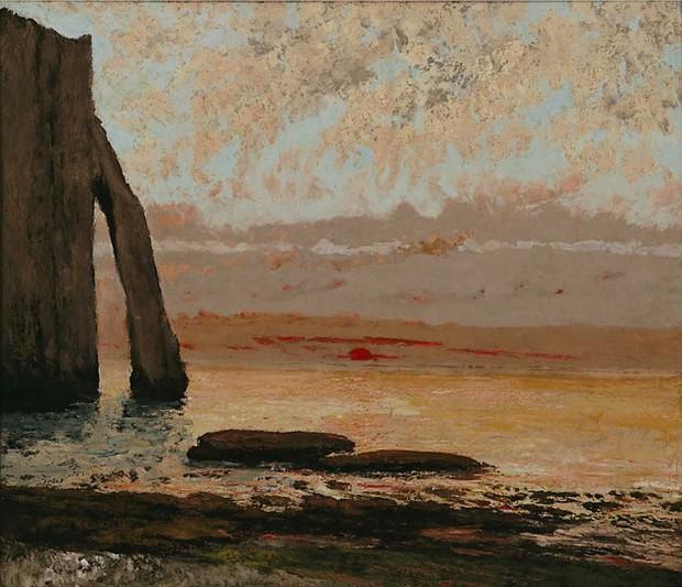 ギュスターヴ・クールベ 《エトルタ海岸、夕日》 1869年 新潟県立近代美術館・万代島美術館蔵