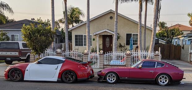 新旧フェアレディZが並ぶカリフォルニアの住宅街(撮影:土方細秩子)