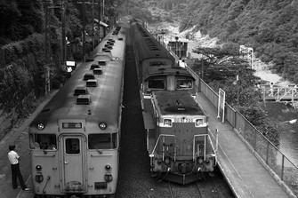 旧型客車を引くDD51(右)とディーゼルカー(キハ40系気動車)が並ぶ=京都府の山陰線・保津峡駅で1984年8月、金盛正樹撮影
