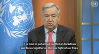 Secretary-General Antonio Guterres holds a virtual press encounter to appeal for a global cease-fire during the Coronavirus (COVID-19) outbreak on March 23, 2020. (UN Web TV)