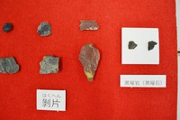 This Sept. 17, 2020 photo shows fragments of stone tools dating back to the Upper Paleolithic Period, which were found at the Ueno ruins in the western Japan city of Kyotango, Kyoto Prefecture. Obsidian rocks from the Oki Islands in Shimane Prefecture are pictured on the right. (Mainichi/Kazuo Matsuno)