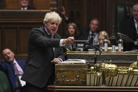 In this handout photo provided by UK Parliament, Britain's Prime Minister Boris Johnson speaks during Prime Minister's Questions in the House of Commons in London, on Sept. 16, 2020. (Jessica Taylor/UK Parliament via AP)