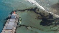 This Aug. 11, 2020 photo provided by the French Army shows oil leaking from the MV Wakashio, a bulk carrier ship that ran aground on a coral reef off the southeast coast of Mauritius. (Gwendoline Defente/EMAE via AP)