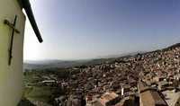 In this file photo taken on April 24, 2006, a crucifix towers over Corleone, Italy. (AP Photo/Gregorio Borgia)