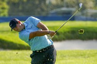 Patrick Reed, of the United States, plays a shot off the second fairway during the second round of the US Open Golf Championship, on Sept. 18, 2020, in Mamaroneck, N.Y. (AP Photo/John Minchillo)