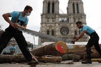 Carpenters put the skills of their Medieval colleagues on show on the plaza in front of Notre Dame Cathedral in Paris, France, Saturday, Sept. 19, 2020, the day honoring European heritage, by reproducing for the public a section of the elaborate carpentry used when the edifice was built. (AP Photo/Francois Mori)