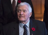 In this Nov. 6, 2017 file photo, former prime minister John Turner looks on during a photo op to mark the 150th anniversary of the first meeting of the first Parliament of Canada, in Ottawa. (Justin Tang/The Canadian Press via AP)