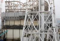 The No. 1 reactor building is seen at the Fukushima Daiichi Nuclear Power Station in Okuma, Fukushima Prefecture, on Sept. 1, 2020. (Mainichi/Masahiro Ogawa)