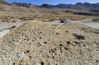 This Sept. 12, 2020 photo provided by the Center for Biological Diversity, shows the scene where thousands of rare desert wildflowers have been dug up at Rhyolite Ridge, about 200 miles southeast of Reno, Nev. (Patrick Donnelly/Center for Biological Diversity via AP)