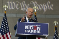 Democratic presidential candidate and former Vice President Joe Biden speaks at the Constitution Center in Philadelphia, on Sept. 20, 2020, about the Supreme Court. (AP Photo/Carolyn Kaster)