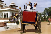 This image provided by the Supreme Court shows Supreme Court Justice Ruth Bader Ginsburg and Supreme Court Justice Antonin Scalia as they ride an elephant in Rajasthan, India, in 1994. (Collection of the Supreme Court of the United States via AP)