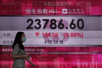 A woman wearing a face mask walks past a bank's electronic board showing the Hong Kong share index at Hong Kong Stock Exchange on Sept. 22, 2020. (AP Photo/Vincent Yu)
