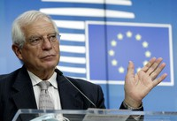 European Union foreign policy chief Josep Borrell speaks during a media conference after a meeting of EU foreign affairs ministers at the European Council building in Brussels on Sept. 21, 2020. (Olivier Hoslet, Pool via AP)