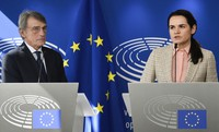 Belarusian opposition leader Sviatlana Tsikhanouskaya, right, and European Parliament President David Sassoli participate in a media conference at the European Parliament in Brussels, on Sept. 21, 2020. (Johanna Geron, Pool via AP)