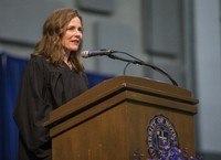 In this May 19, 2018 file photo, Amy Coney Barrett, United States Court of Appeals for the Seventh Circuit judge, speaks during the University of Notre Dame's Law School commencement ceremony at the university, in South Bend, Indiana. (Robert Franklin/South Bend Tribune via AP)