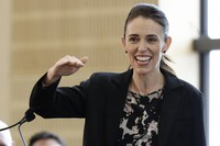 In this June 25, 2020 file photo, New Zealand Prime Minister Jacinda Ardern gestures during the opening ceremony for Redcliffs School in Christchurch, New Zealand. (AP Photo/Mark Baker)