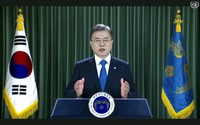 In this image made from UNTV video, Korean President Moon Jae-in speaks in a pre-recorded message which was played during the 75th session of the United Nations General Assembly, on Sept. 22, 2020, at UN headquarters in New York. (UNTV via AP)