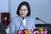 Taiwan President Tsai Ing-wen speaks during a visit to the Penghu Magong military air base in outlying Penghu Island, Taiwan Tuesday, Sept. 22, 2020. (AP Photo/Johnson Lai)