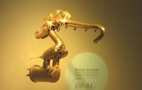 黄金博物館に展示された鳥の細工。日本が古墳時代のころ当地には黄金文明が栄えた(写真は筆者撮影)