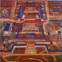 境内の様子を描いた室町時代の「春日社寺曼荼羅図」。最も奥の建物の前にあり、対になる建物の左が鐘楼=興福寺蔵
